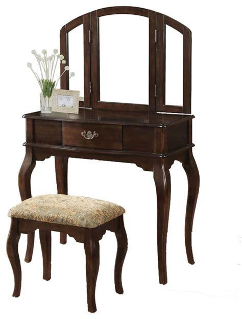 tri folding mirror vanity set wooden make up table cushion