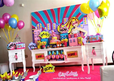 barbie themed birthday party kara s party ideas main tables from a superhero barbie
