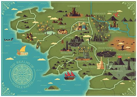 middle earth map the realms of middle earth