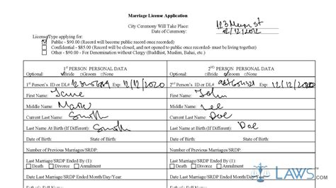 Ca Marriage License Records To Fill Los Angeles Marriage License