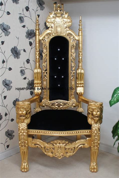 A GOLD LION KING THRONE CHAIR Choice of Fabrics with Diamond Crystal Buttons   Hampshire Barn