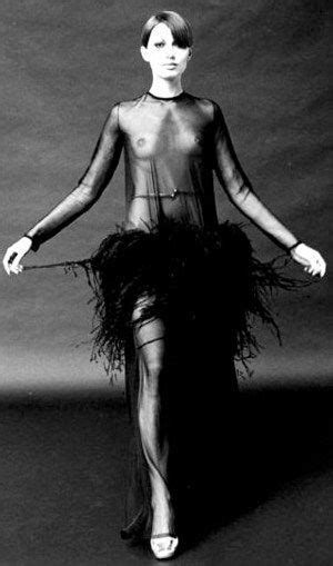 Black sheer dress with ostrich feathers - Yves Saint