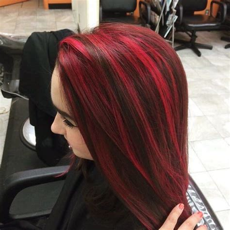 pictuted of red highlights on dark hair with spiky cut red hair streaks in black hair www pixshark com images