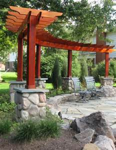 different shaped pergola makes a backdrop for the