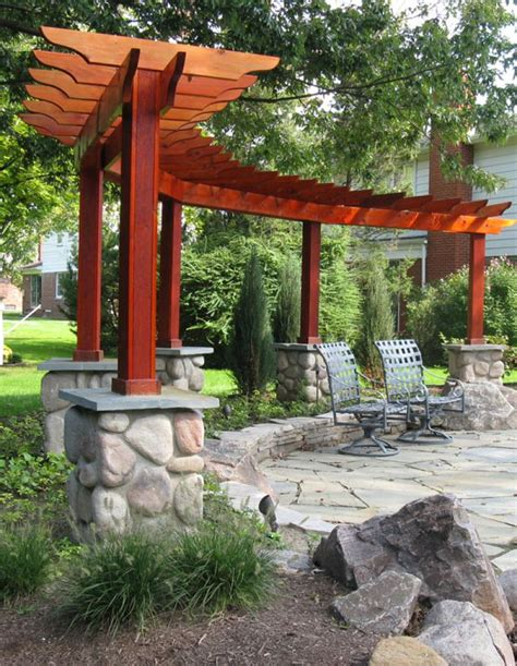 different shaped pergola makes a nice backdrop for the