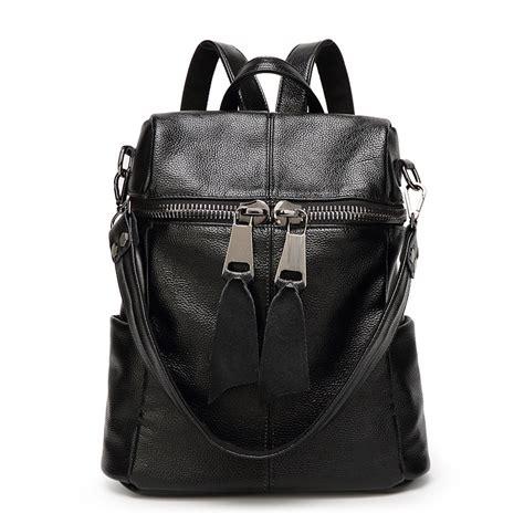 mochilas de cuero negro bolsas de piel viaje grandes originales mochila de cuero