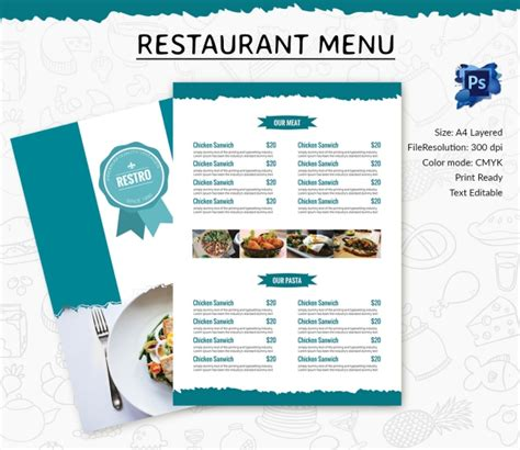 business menu template free printable editable restaurant menu templates