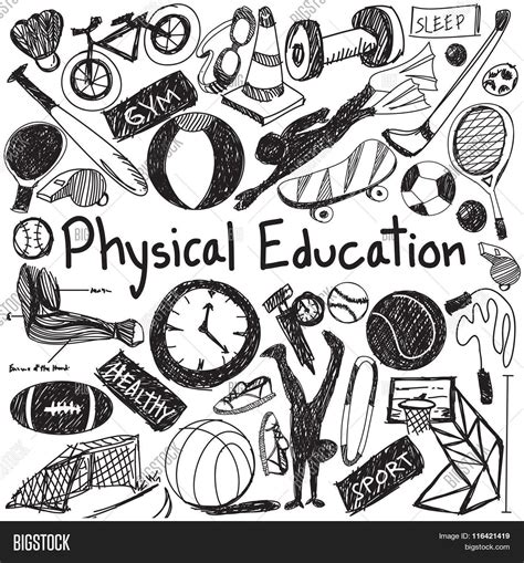 doodle sign in physical education exercise and education handwriting