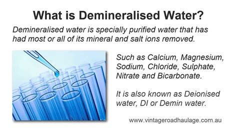 what does water mean what is demineralised water is it different to distilled