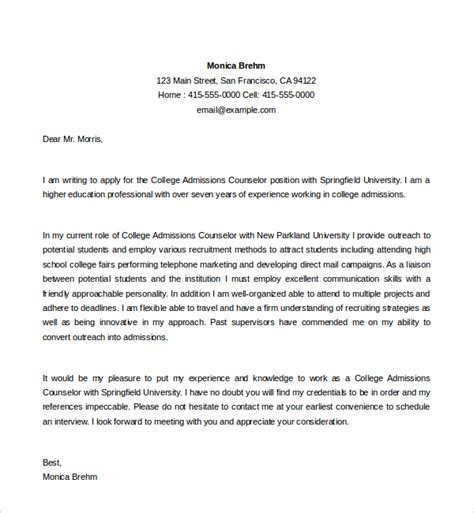 college cover letter template sle admission counselor cover letter 5 free
