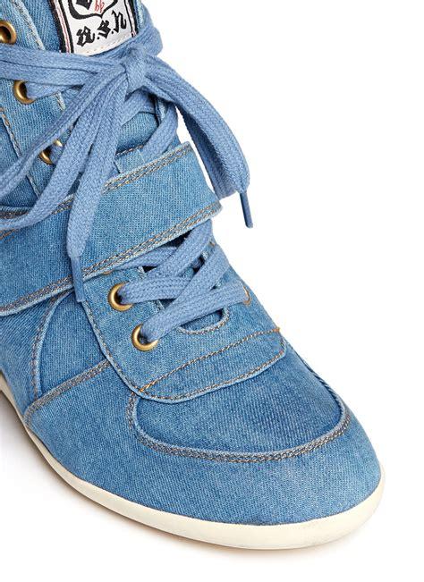 Sneakers Denim 1 ash bowie denim concealed wedge sneakers in blue lyst