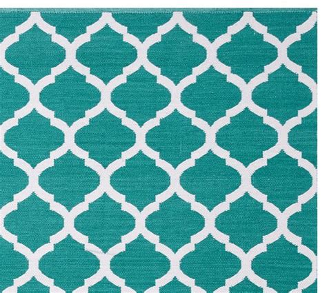 Teal Outdoor Rug Becca Tile Reversible Indoor Outdoor Rug Teal Pottery Barn