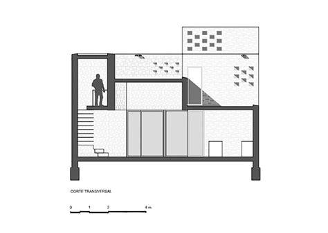 transversal section alfonsina house cekada romanos arquitectos archdaily