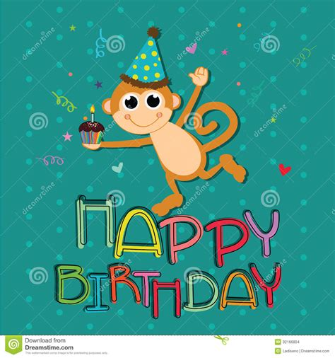 Happy Monkey Blue monkey celebrating stock vector illustration of