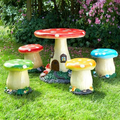 toadstool table and chairs add a touch of fantasy to any garden with this 5 piece