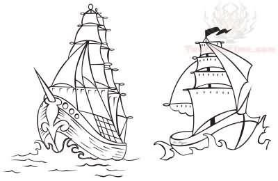 boat outline tattoo simple pirate ship outline