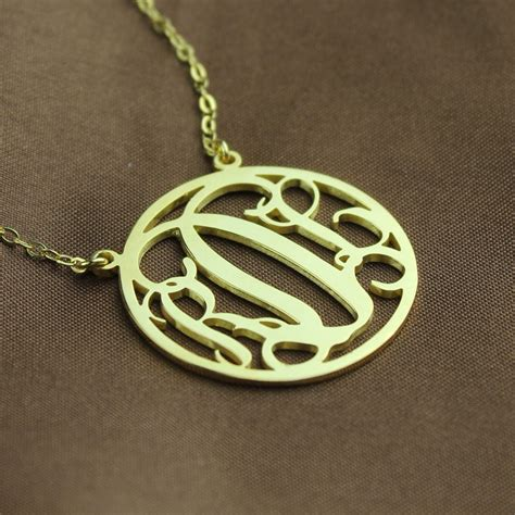 circle solid gold initial monogram name necklace