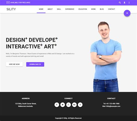 Sility Premium Responsive Cv Resume Html5 Template Html5 Personal Website Template
