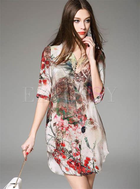 Print Sleeve Shift Dress half sleeve print shift dress ezpopsy