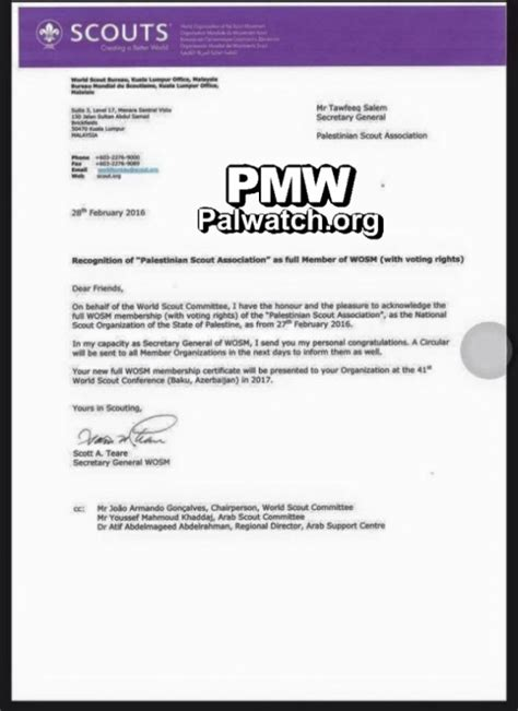Acceptance Letter For Club Membership Pmw Asks World Scout Movement To Cancel Pa Scouts Membership Pmw Bulletins