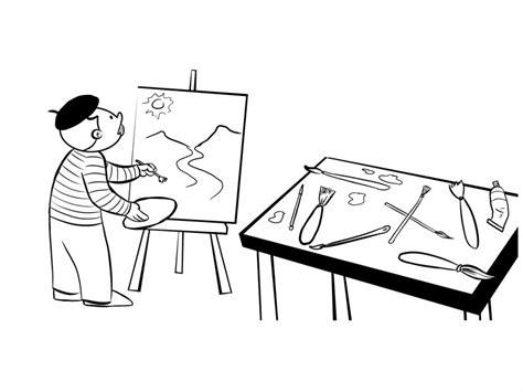 imagenes para dibujar un cuadro pintor trabajando en sus cuadros dibujos infantiles