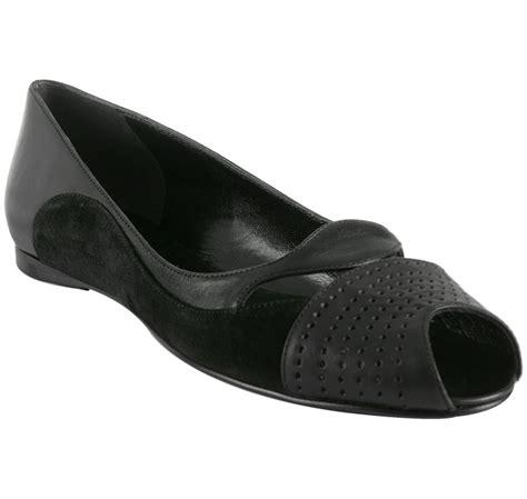 balenciaga flat shoes balenciaga black perforated leather peep toe flats in