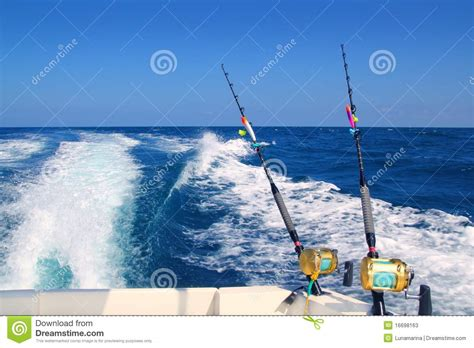 boat fishing techniques sea trolling fishing boat rod saltwater reels stock image