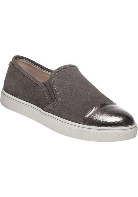 lyst steve madden emuse slip on sneakers in gray
