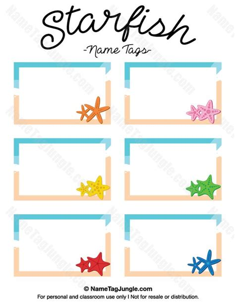 printable desk name tags for kindergarten free printable starfish name tags the template can also