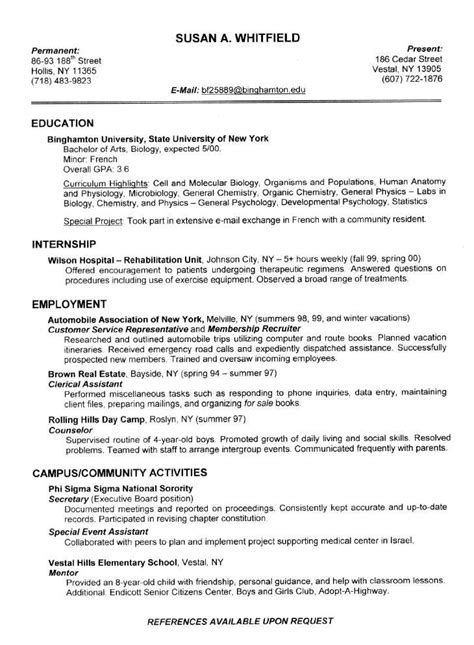 Exles Of Resumes For College Students by Resume Exles For College Students Sle Resumes
