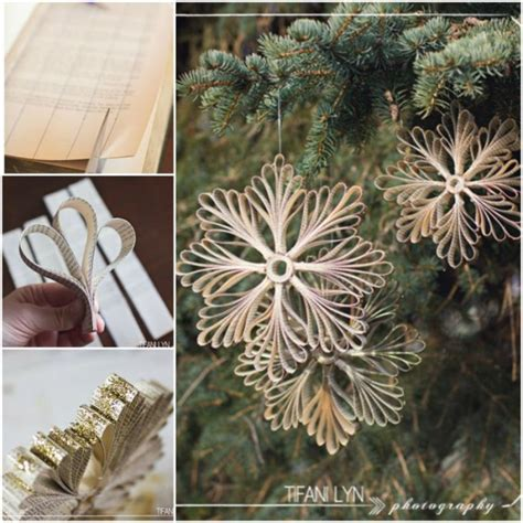 how to make winter decorations diy paper book snowflake ornament