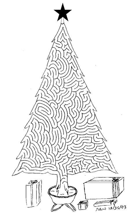 printable christmas tree maze 6 hard christmas mazes for party