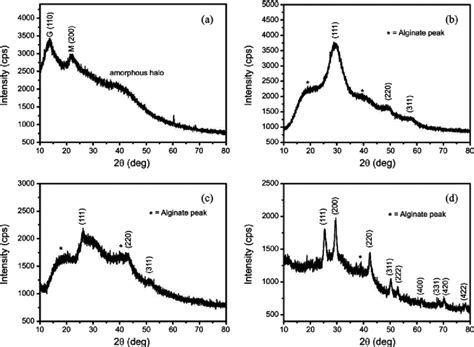 xrd pattern of pbs xrd patterns of a sodium alginate b alg zns c alg