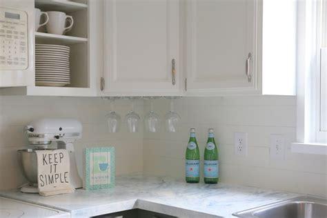 Adhesive Backsplash Tiles For Kitchen faux shiplap backsplash with peel n stick flooring