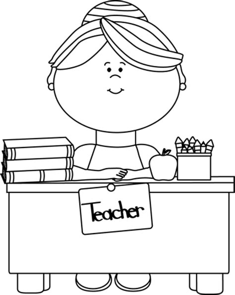 bw it help desk black and white teacher sitting at a desk clip art black