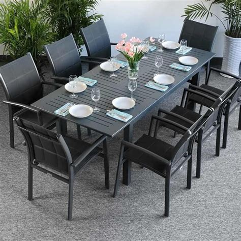 8 Seater Patio Table And Chairs Garden Table Set Virginia Grey 8 Person Aluminium Extending Patio Table Lazy Susan