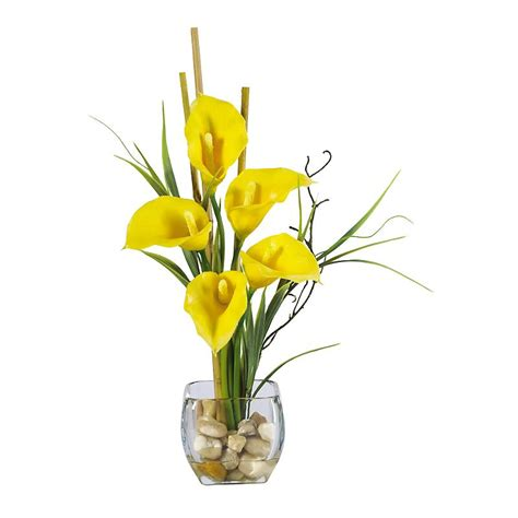 Flower Arrangements For Home Decor by Calla Lily With Bamboo Centerpiece Yellow Silk Wedding
