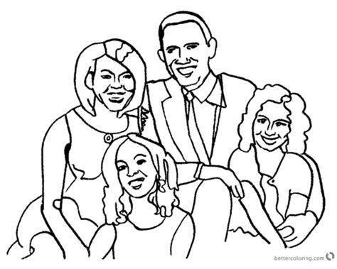 coloring pages obama family michelle obama coloring page with her family free
