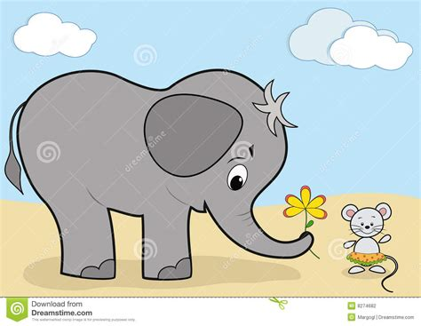 Mouse Elephant baby elephant and mouse stock vector image of gift