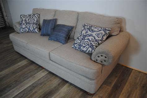 grey sofa with blue pillows route 66 furniture 187 gray sofa w blue pattern pillows