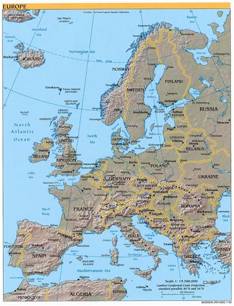 map urop map of labeled cities of europe