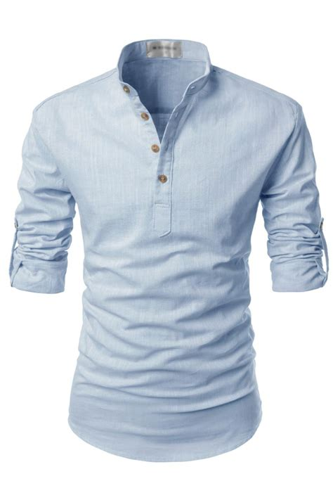 sky blue henley mandarin collar roll up sleeved linen