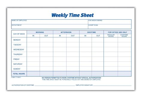 employee weekly time card template 8 best images of blank printable timesheets free