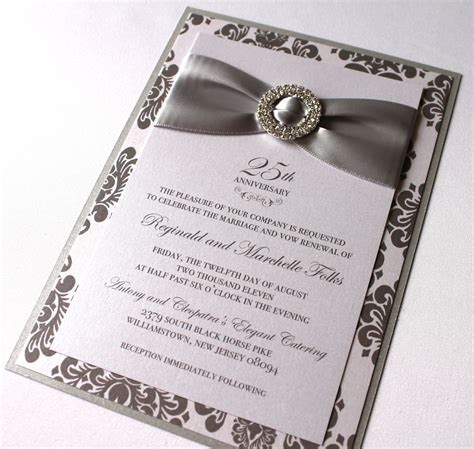 25th anniversary invitations templates embellished paperie 25th anniversary invitations silver