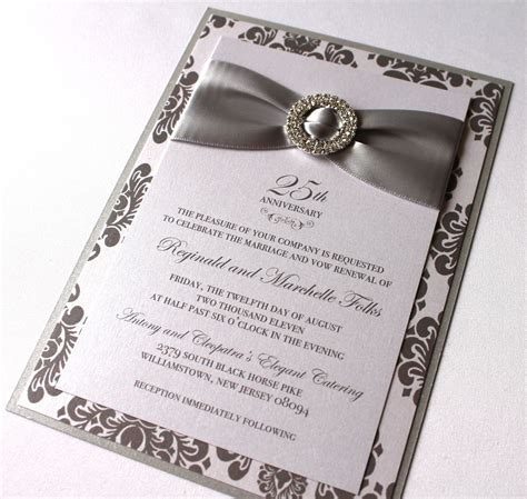 25th Anniversary Invitations, Silver and White Damask