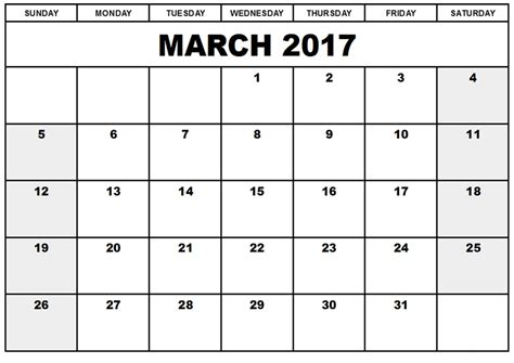 march calendar template free march 2017 printable calendar free templates