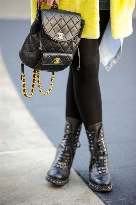 Fashion Week Ankle Purses At Chanel by Tough Meets Fashion Fan With A Chanel Backpack Purse