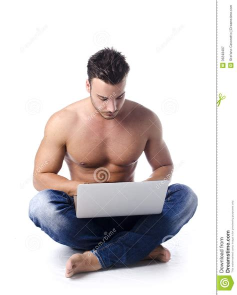 download image man injects synthol with muscles pc android iphone muscular shirtless young man on the floor using laptop