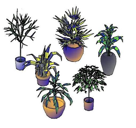 trees  house plants  dwg model  autocad designs cad