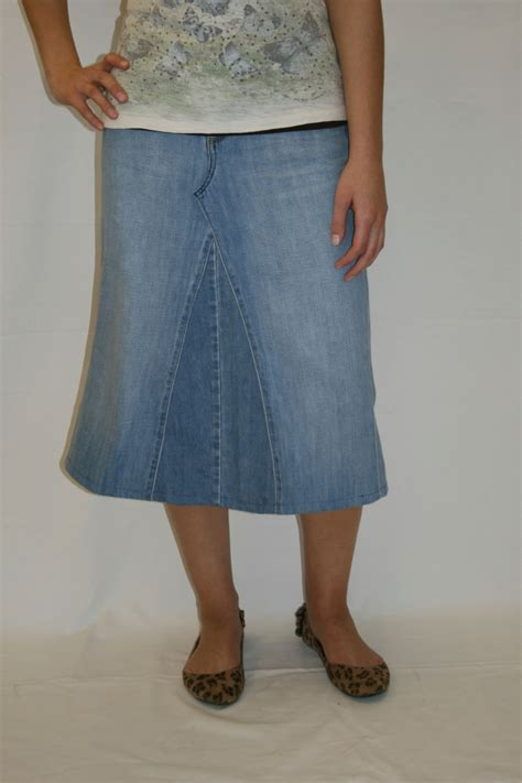 jean skirt below knee